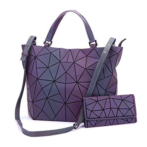 for Handbags Girlfriend Holographic and Gift Large Purses With Large Purse Geometric Ideas Tote Luminesk Women qPpxz