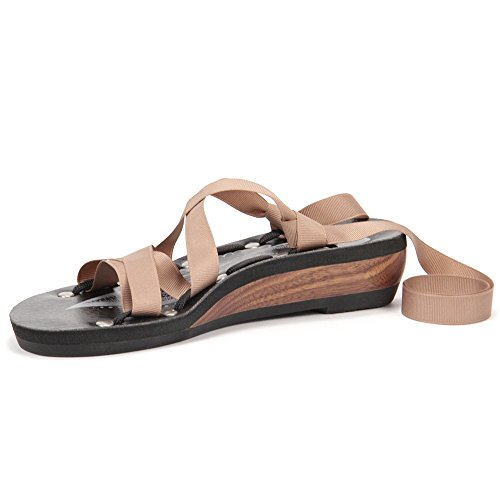 Mohop Women's Moped Walnut with Black Footbed Low Slide Sandal 10