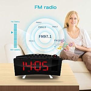 SKM Reloj Despertador de Proyección Digital Radio FM Reloj de Viaje Reloj de Cabecera Proyector Giratorio Alarma Doble Función de Despertador (Rojo) 2