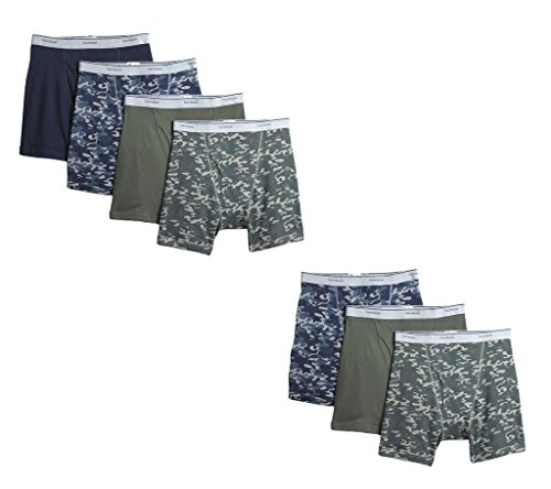 - Fruit of the Loom Mens 7Pack Assorted Prints Boxer Briefs Cotton Underwear M