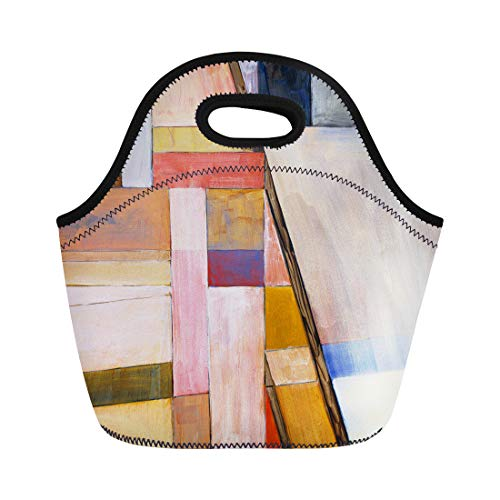 Semtomn Lunch Bags Designer Colorful Modern Abstract Painting Blue Geometric Original Graphic Neoprene Lunch Bag Lunchbox Tote Bag Portable Picnic Bag Cooler Bag