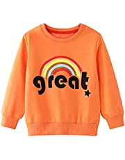 Jurebecia Toddler Boy Girl Sweatshirts Pullover Tops Cartoon Patter Casual Kids Fall Winter Warm Long Sleeve Outfits