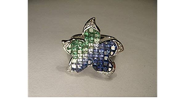 Jewelry & Watches Fabulous 18k Designer White Gold Star Fish Starfish Diamond Sapphire Ring