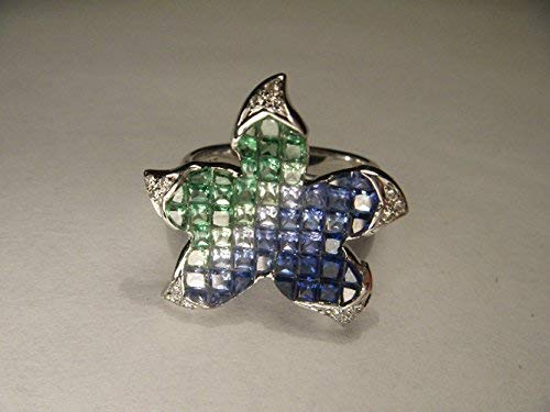 Fabulous 18K Designer White Gold Star Fish Starfish Diamond Sapphire Ring Earring Set