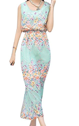 10 Dress Floral Maxi Women Coolred Sleeveless Printed Bohemian Chiffon nqOZ78zHw
