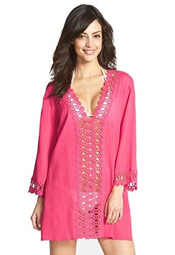 Nuevas señoras rosa ribete de ganchillo vestido de playa caftán playa encubrir verano Wear caftán tamaño M UK 10–�?2EU 38–�?0