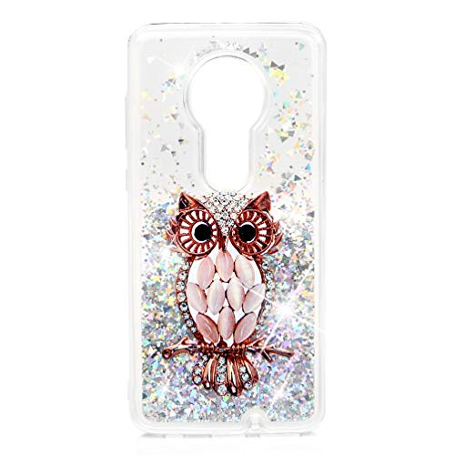 Moto G7 Case, Moto G7 Plus Case, Glitter Bling Sparkly Quicksand Liquid Cover Shockproof Thickening Edge Drop Protection Bumper Soft TPU Shell for Moto G7, Moto G7 Plus Owl