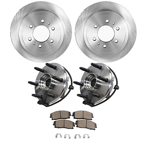 Axle Front Custom - Detroit Axle - Both Front Wheel Hub Bearing Assembly w/ABS, Front Brake Rotors w/Ceramic Pads for Cadillac Escalade Chevy Avalanche Express Silverado Tahoe Suburban GMC Savana Sierra Yukon XL 1500