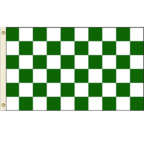 Green and White Checkered 3x5 Polyester Flag
