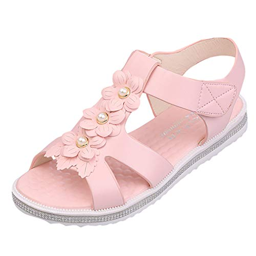 GHrcvdhw Classic Summer Flower Peep Toe Flat-Soled Shoes Casual Women Sandals Flat with Ladies Beach Sandals Pink