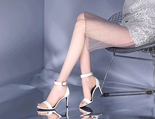 en Cuir d'été Véritable Hauts Fashion Sexy Chaussures à Femmes pour Sandales à Open Slim JAZS® Sweet Élégant Femmes Toe la de Mode Blanc Talons Simple Mode New Style qntWIC
