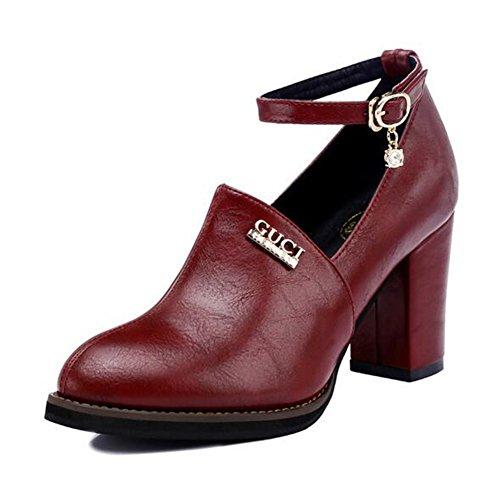 Zapatos ocasionales respirables de la PU de la primavera, del verano, artificiales de la caída, deslizamiento en los zapatos, zapatos que caminan con PU artificial original ( Color : Rojo , tamaño : 3 Rojo