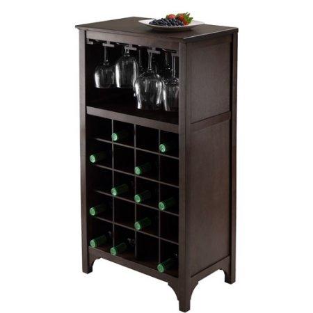 Wine Cabinet, 20-Bottle Wine Cabinet, Wine Cabinet With Glass Rack, Wood, Dark Espresso And Black