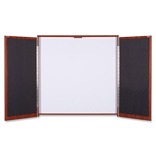 Lorell Presentation Cabinet - 47.3quot; x 4.8quot; x 47.3quot; - Drywipe Whiteboard, Hinged Door - Cherry by Lorell