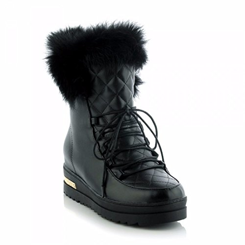 Snow boots with thick bottom short tube warm shoes lace Maomao students Black