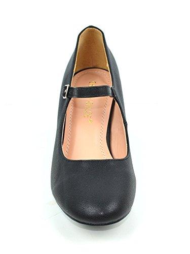 Chale & Chloe Brandi-1 Mujeres Chunky Block Heel Con Mary Janes Correa Zapatos Black Pu