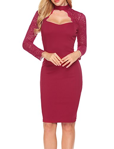Women Cocktail Party Dress Wine Red - 9