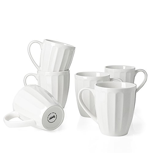 Sweese 6208 Porcelain Fluted Mugs - 14 Ounce for Coffee, Tea, Cocoa, Set of 6, White]()