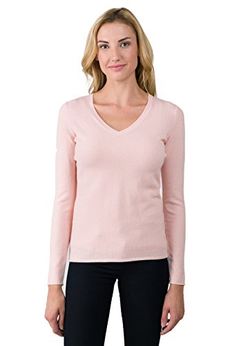 JENNIE LIU Women's 100% Pure Cashmere Long Sleeve Pullover V Neck Sweater (S, -