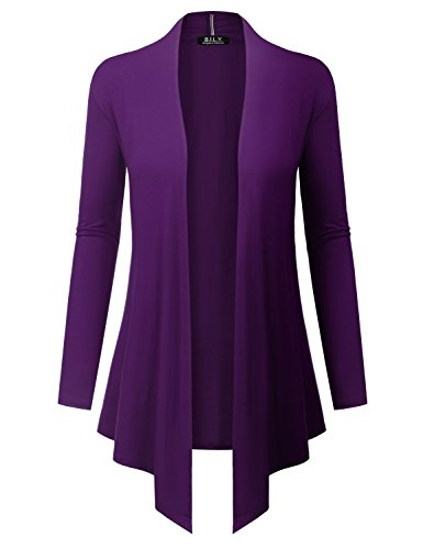 BILY BILY Women#039s Open Front Drape Hem Lightweight Cardigan With Pockets Purple Large