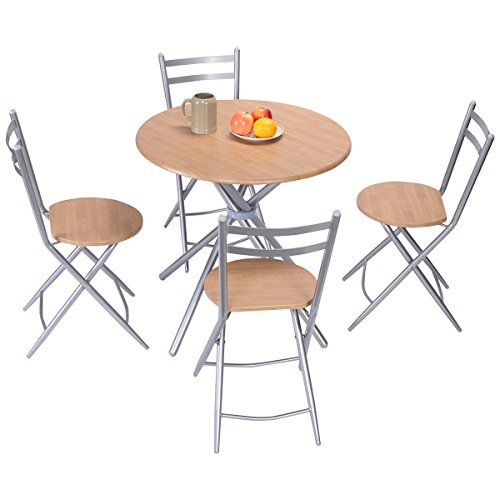Item Valley 5 PCS Folding Round Table Chairs Set Furniture Kitchen Living Room ()