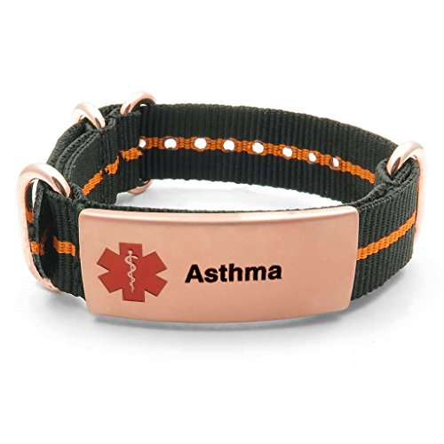 IDtagged Asthma Black and Orange Adjustable Nylon Medical Alert ID Bracelet w/ Rose Gold Tone Stainless Steel Tag
