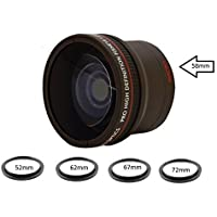 0.16X Ultra-Wide Fisheye Converter Lens w/ Macro Close-Up Attachment For Canon EOS Rebel T6s, T6i, SL1, T5, T5i, T4i, T3, T3i, T1i, T2i, XSI, XS, XTI, 70D, 60D, 60Da, 7D, 5D, 1D Digital SLR Cameras