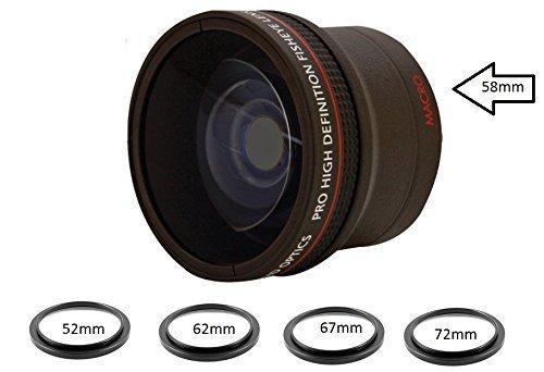 0.16X Ultra-Wide Fisheye Converter Lens w/ Macro Close-Up Attachment For Canon EOS Rebel T6s, T6i, SL1, T5, T5i, T4i, T3, T3i, T1i, T2i, XSI, XS, XTI, 70D, 60D, 60Da, 7D, 5D, 1D Digital SLR (E58 Base)