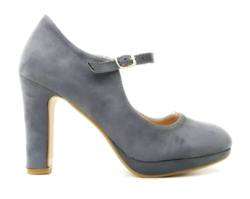 Damen Riemchen Mary Jane Pumps Plateau High Heels Blockabsatz 318 Grau