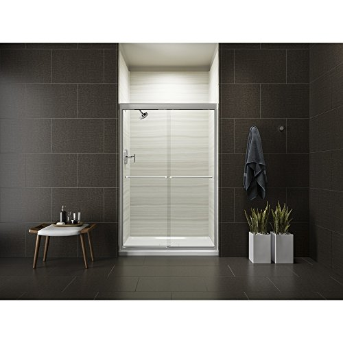 KOHLER K-702208-L-SHP Fluence Frameless Bypass Shower Door, Bright Polished Silver