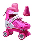 WiiSHAM Fun Roll Adjustable Roller Skates with Four Piles (Pink and White, Small)
