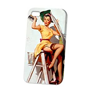 Case Fun Apple iPhone 4 / 4S Case - Vogue Version - 3D Full Wrap - Help Wanted Pin Up Girl