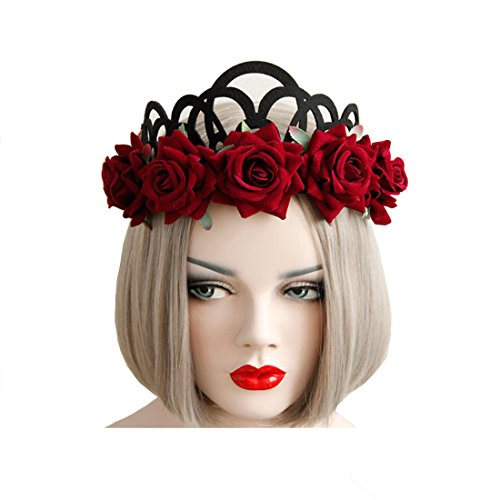 [Halloween Headbands for Cosplay Party Costumes Vampire Bat Evil Elastic Hairband Red Rose Girls Crown Hair Accessories (Rose Crown)] (Hair For A Vampire Costume)