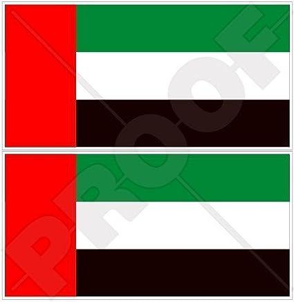 Des Émirats arabes unis Drapeau Émirats arabes unis Dubaï, Abu Dhabi 109,2cm (110mm) en vinyle Bumper Stickers, Stickers x2 StickersWorld
