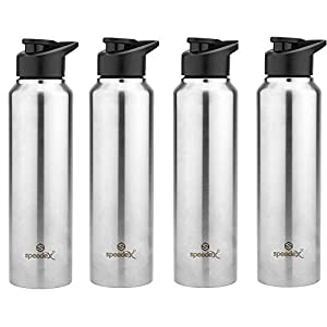Speedex Stainless Steel Fridge Water Bottle/Refrigerator Bottle/Thunder with Sipper Cap (Pack of 4, Silver Colour, 1000…