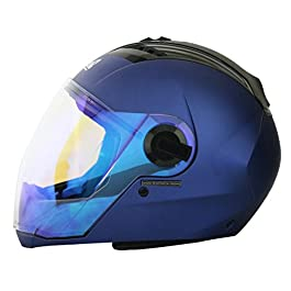 Steelbird SBA-2 Full Face Helmet with Blue Visor (Yamaha Blue, Large)