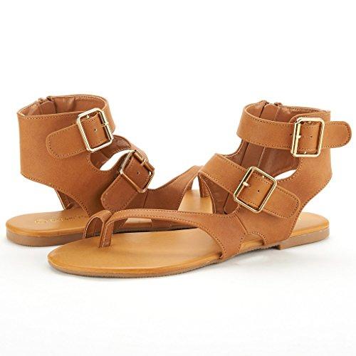 Coppie Sogno Crox Nuove Donne Open Toe Moda Incrociato Valcre Cinturini Alla Caviglia Sandali Piatti Design Estivo Trentch-tan Pu