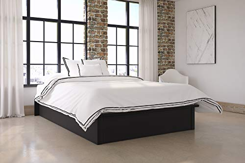 Bed Upholstered Leather - DHP Maven Platform Bed with Upholstered Faux Leather and Wooden Slat Support, Full Size - Black