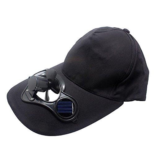 ex Solar Power Sun Protection Outdoors Cooling Fan Cap Baseball Hat - Black ()
