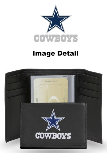 Nfl Team Embossed Billfold (Dallas Cowboys NFL Team Logo Tri Fold High Quality Black Leather Wallet - Embossed)