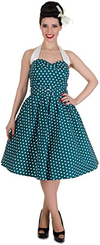 Dotty Kleid amp; Damen Retrokleid Dots Petrolfarben Dolly Punkte weißen Sophie mit OwHtaxt5q