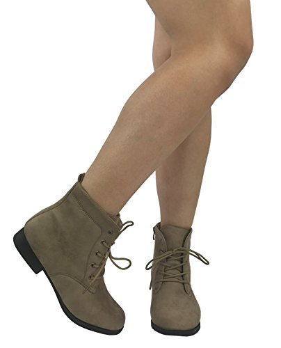 Forever Suede Taupe Collection Bootie Faux Heel Ankle Combat Fashion Leather Round Toe Flat Womens rWrwdqORY