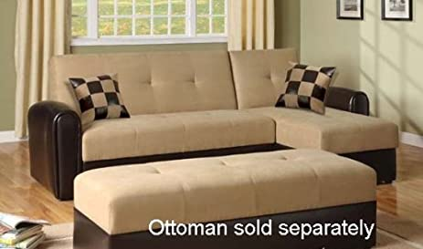 Adjustable Sectional Sofa with Reversible Chaise and Storage Wheat Microfiber : storage sectional sofa - Sectionals, Sofas & Couches