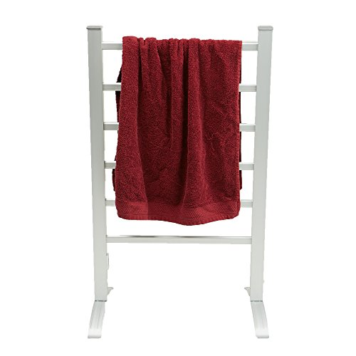 Steel Towel Rack Stand - Mind Reader STANDTOW-SIL Electric Heated Clothing Rack, 100 Watt Stainless Steel Portable Stand Alone, Towel Stand Dryer, Airer, Warmer, Silver
