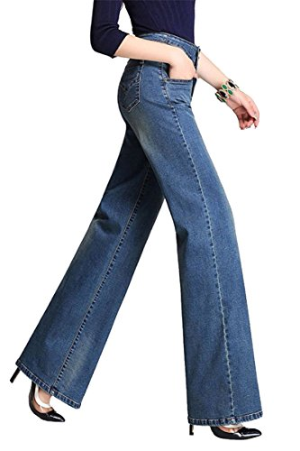 Pantalons Evase Jean Femme Bleu Confortable Taille Bootcut Casual Haute Femme Jean Jambe Large nq1TzwUY1