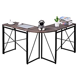 No-Assembly Folding L-Shaped Computer-Desk Home Office Workstation Writing Study Corner Table 47 x 15 x 29.5 Inches, Brown-VC1905