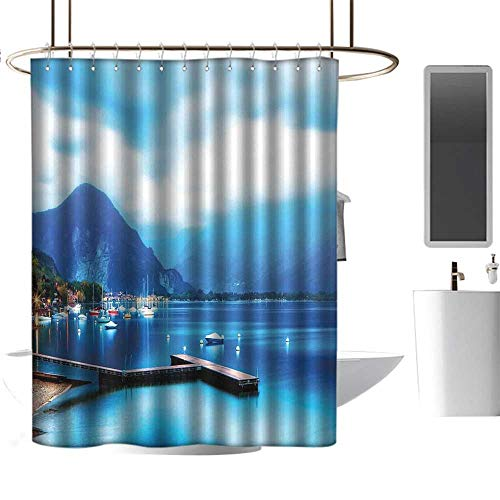 - Qenuan Polyester Fabric Shower Curtain Country,Italian Village with Harbor and Sail Boats Magical Countryside Cottage Life Rural Photo,Blue,Washable, Eco-Friendly,for Bathroom Curtain 54
