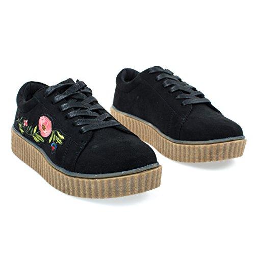 Geborduurde Bloemen Patchwork Platform Lace Up Klimplant Sneaker. Zwart