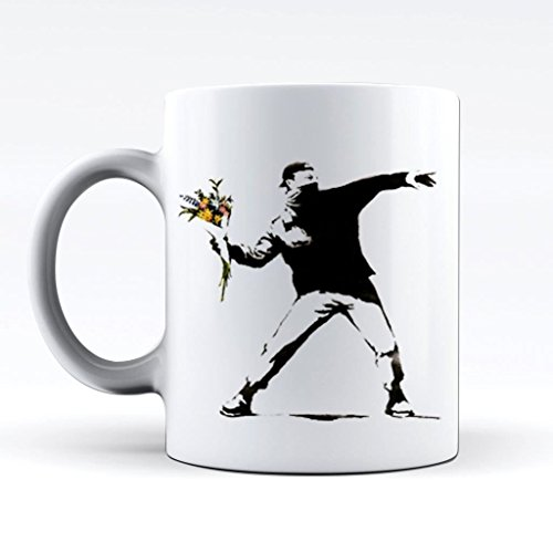 - Printed Mug and Coffee Cups Banksy Flower Thrower Funny Mugs Novelty Gift Idea