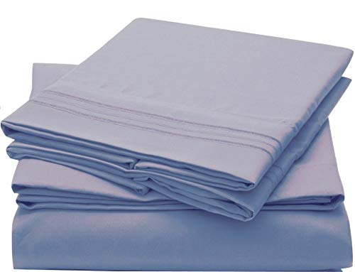 Ruthy's Textile Bed Sheet Set Luxury Brushed Microfiber 1800 Bedding Wrinkle, Fade, Stain Resistant -Hypoallergenic, Soft Deep Pockets Sheets & Pillow Case Set 4 Piece (Spa Blue, Twin)